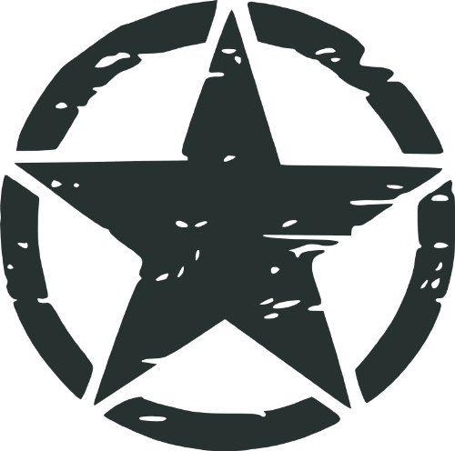 Misc Decals, Army Rought Star, Vinyl Car Decal, Black', 5-by-5 inches'