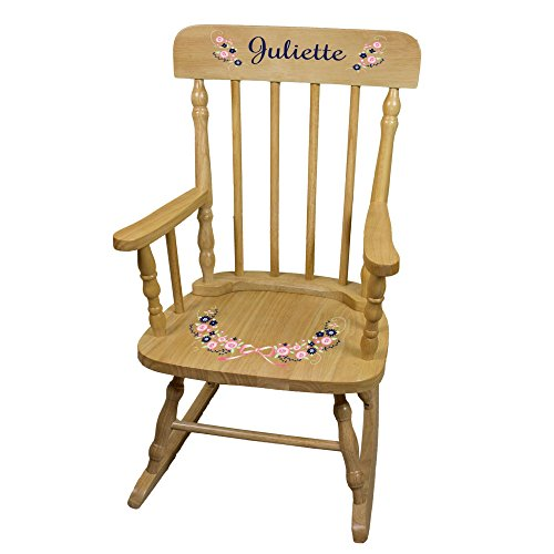 (MyBambino Personalized Navy Pink Floral Garland Natural Wooden Childrens Rocking Chair)