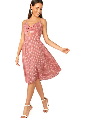 Floerns Women's Twist Front Knot Back Bow Polka Dot Print Cami Dress Pink M -
