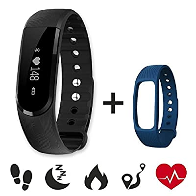 Fitness Tracker,CAMTOA ID101 Smart Bracelet Bluetooth 4.0 Pedometer Fitness Activity Monitors Sleep Heart Rate Monitor Tracking Sleep Calorie Music Control Wristband for Android IOS Phones