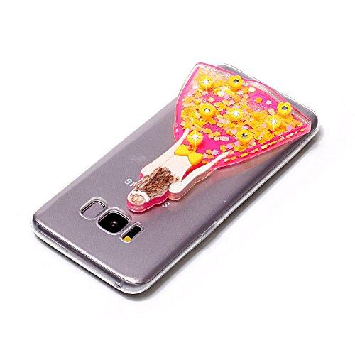 Funda Galaxy S8 Plus, Caselover 3D Bling Silicona TPU Búho Carcasas para Samsung Galaxy S8 Plus Glitter Líquido Arena Movediza Protección Caso Sparkle Brillar Cristal Tapa Case Suave Transparente Clar Vestido Amarillo