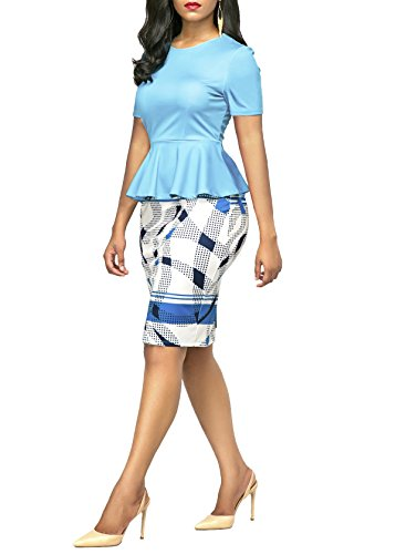 KISSMODA Womens Short Sleeve Work Bodycon Dress One Piece Midi Pencil Peplum Summer Dresses O Neck Light Blue Medium by KISSMODA (Image #4)
