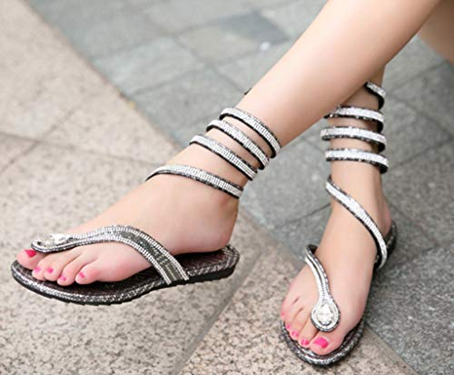 Sandali avvolti e da Sandali con Piatti 35 Strass Donna Dimensioni Sandali Serpente Silver con Colore Estivi CywBqwvT