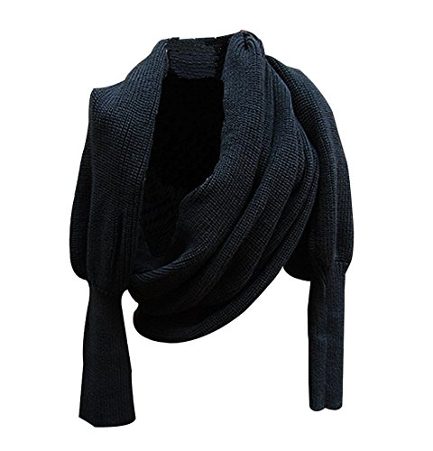 Autunm Winter Fashion Unisex Crochet Knitted Scarf Cape Shawl with Sleeves (Black) (Scarf Thing)
