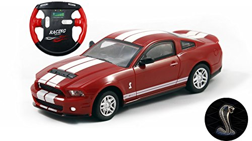 Ford Mustang Cobra Model (Ford Shelby GT500 Mini Licensed RC Car - 1/43 Scale - Red w/ White Stripes)