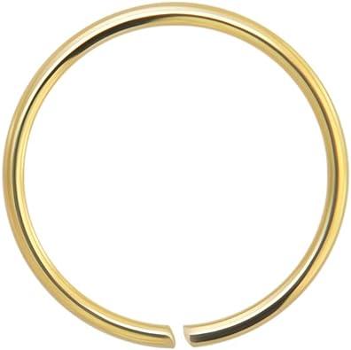 Azario London 14k Yellow Gold 22 Gauge 6mm Diameter Seamless Continuous Open Hoop Nose Ring Nose Piercing Amazon Co Uk Jewellery