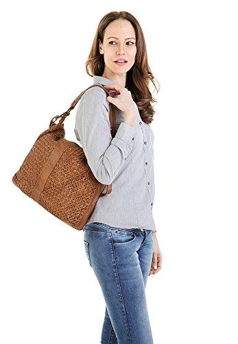 Shopper 018945 LEDER Groß FORTY° Damen ECHT braun AvqCwwZH