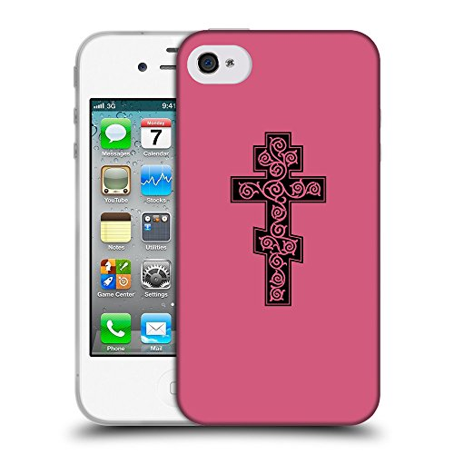 GoGoMobile Coque de Protection TPU Silicone Case pour // Q07910614 Christian Cross 16 Rougir // Apple iPhone 4 4S 4G