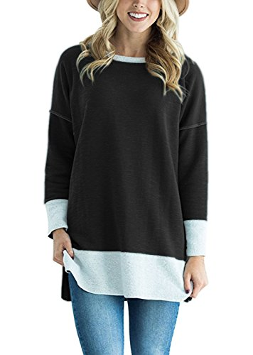 2 Side Womens T-shirt (TrendiMax Women Long Sleeve Two Tone Color Block Pullovers Sweatshirt Loose Tunic Tops With Side Slit)