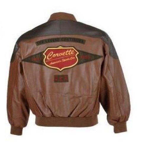 Corvette The Legend Continues - Retro Leather Jacket (2XT, BROWN)