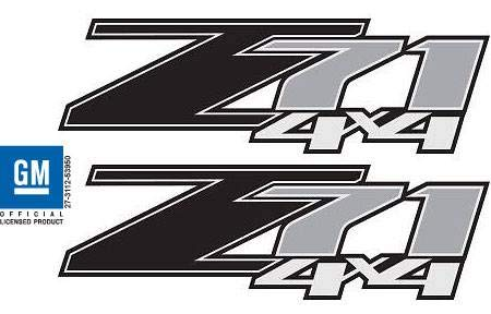 GMC Sierra Z71 4x4 Black Decals Stickers - FB (2007-2013) Bed Side 1500 2500 HD (Set of 2)