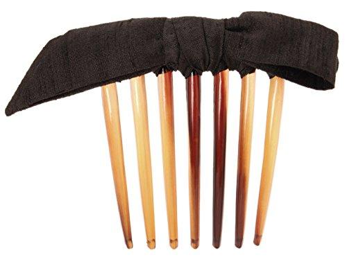 L. Erickson USA Narrow Bermuda Bow French Twist Comb - Silk Dupioni Black