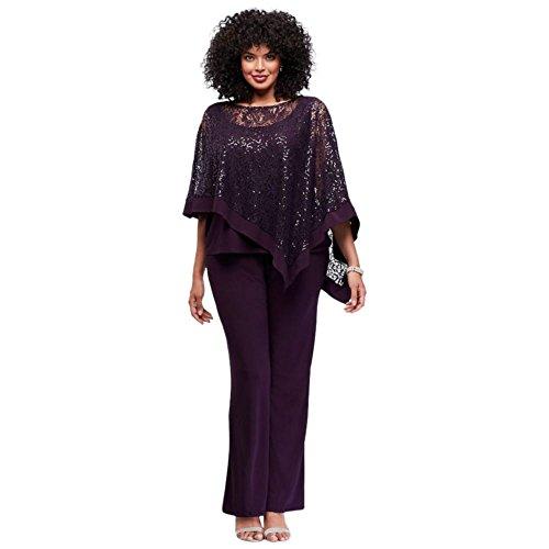 Davids Bridal Sequin Lace Plus Size Pantsuit With Sheer Capelet Style 8998Wd  Plum  22W