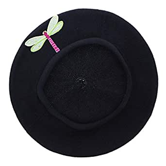 Landana Headscarves Cotton Ladies Beret with Sequin Dragonfly-Lime - Black - One Size