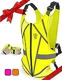 Reflective Running Vest   Reflective Gear for Running, Cycling, Jogging, Walking, Motorcycle   Adjustable Safety Vest   Front Zipper   Back Pocket   Bonus Set of 2 Adjustable Bands, for Men and Women