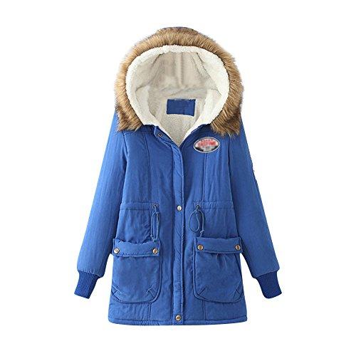 Capuche Chaud Style Fousse Femme Bleu Avec Hiver Parka À Manteau Fourrure Vest Militaire CBpH5wxwYq