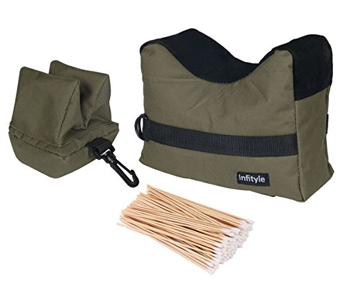 Shooting Rest Bags - Front And Rear SandBag Stand Holders For Gun Rifle With 100 Pcs Cotton Swabs(Army Green,1 Pack) (Bag Shot Stand)