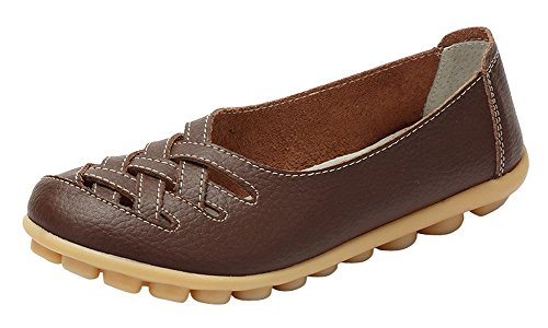 Eagsouni Women's Leather Loafers Moccasins Casual Flat Boat Shoes Cut Out Driving Sandals Coffee KZ0nRNV