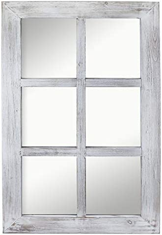 Barnyard Designs Decorative Windowpane Mirror Rustic Farmhouse Distressed Wood Vertical or Horizontal Hanging Mirror Wall Decor 40 x 24
