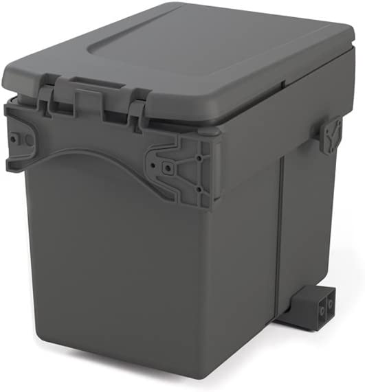 Emuca 8935423 Contenedor de basura incorporado para gabinete con tapa automática, gris antracita, 15 litros