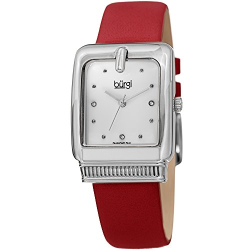 Burgi Designer Women's Watch - Red Genuine Leather Strap, Diamond Markers, White Dial, Rectangle Gold Case Ladies Wristwatch - BUR192RD