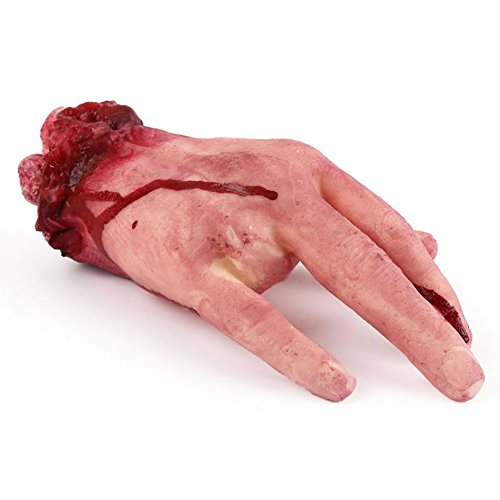 SoSo Halloween Bloody Hand Haunted House Scary Hand Finger Leg Foot Brain Heart Horror Props Realistic Terrorist Fake Human Body Parts Masquerade Decoration - GET IT NOW!