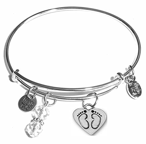 (Message Charm (22 words to choose from) Expandable Wire Bangle Bracelet, in the popular style, COMES IN A GIFT BOX! (Baby Feet))
