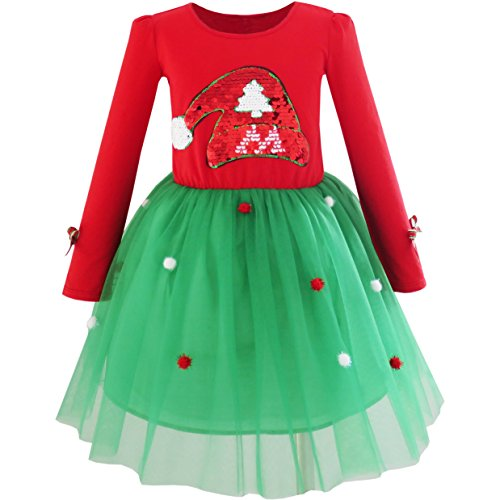 Christmas Clothes Girls - JV91 Girls Dress Christmas Santa Hat Long Sleeve Party Dress Size 6
