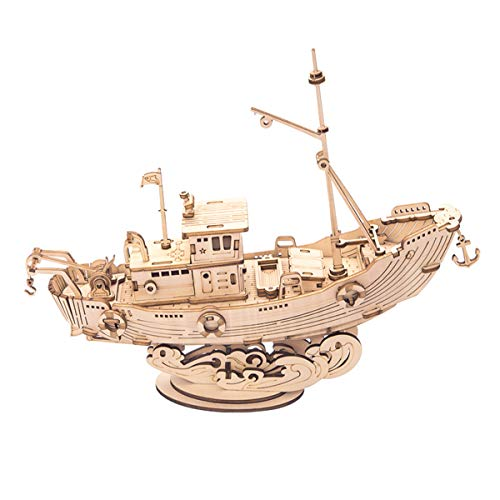 Rolife 3D Wooden Puzzle Ship Model 7.5″ Fishing Ship (104 pcs), Collectible Display Building Kits Gift for Teens and Adults