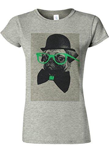 プランター有用運命的なGeek Pug Nerd Glasses Funny Novelty Sports Grey Women T Shirt Top-M