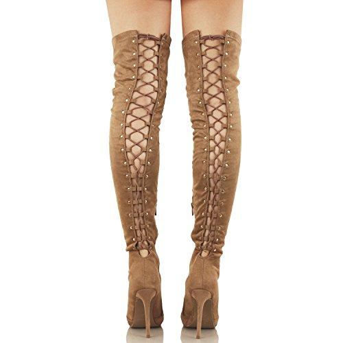 Guilty Schuhe Damen Sexy Pull Up Stiletto Slouchy High Heel - Overknee Oberschenkel Hohe Stiefel Taupev2 Wildleder