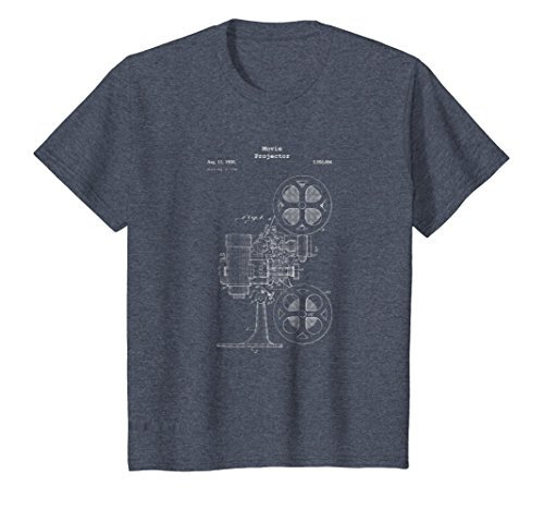 Kids Vintage Movie Projector Blueprint Shirt - Film Cinema Video 10 Heather Blue