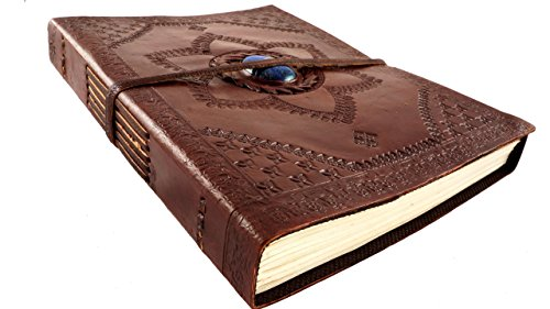 Leather Journal Diary Hand Tooled Lapis Lazuli Gemstone 9