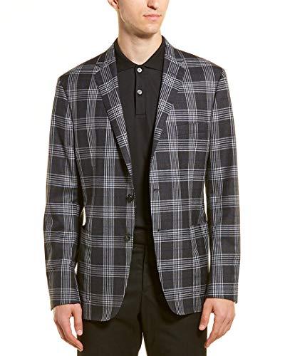 Hickey Freeman Mens Plaid Wool & Silk-Blend Jacket, 40, Grey