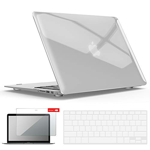 IBENZER MacBook Air 13 Inch Case, Soft Touch Hard Case Shell Cover with Keyboard Cover Screen Protector for Apple MacBook Air 13 A1369 1466 NO Touch ID, Crystal Clear,MMA13CYCL+2