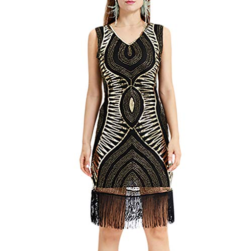 Dress Adjustable Form Dritz (〖Shusuen〗 Classic Women Sleeveless V Neck Fringe Cocktail Vintage Bead Tassel Sequin Lace Party Dress Banquet Garments)
