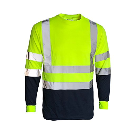 INDX-Clothing Hi Vis Viz Long Sleeve Short Sleeve V Neck T-Shirt High Visibility Safety Security Work Breathable…
