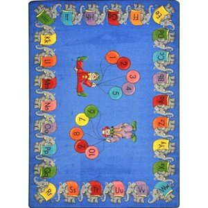 Educational Circus Elephant Parade Kids Rug Rug Size: Oval 5'4'' x 7'8'' by Joy Carpets