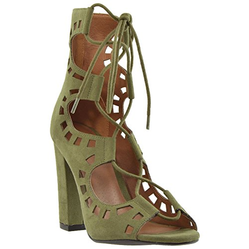 Generation Y Womens Boots Lace Up Ghillie Cutout High Heel Ankle Booties GY-WB-ANKLE41 Olive 0Q8Y8hVn