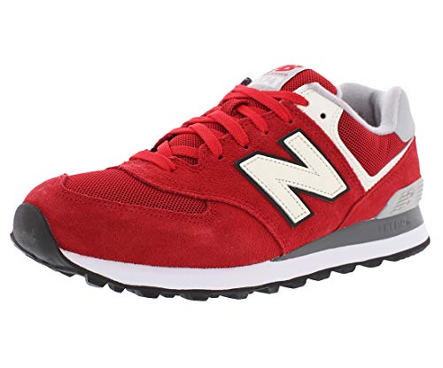 New Balance Men's 574 Varsity Classic Running Shoe, Size: 10 Width: D Color: Red/White (Suede 574 Shoes Mens Running)