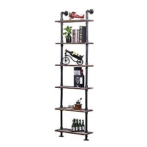 Ucared Industrial Shelving 6 Tier Modern Wood Ladder Shelf,Design Rustic Bookshelf,DIY Vintage Pipe Shelves,Wall Shelves…
