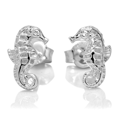 925 Sterling Silver Tiny Seahorse 10 mm Post Stud Earrings