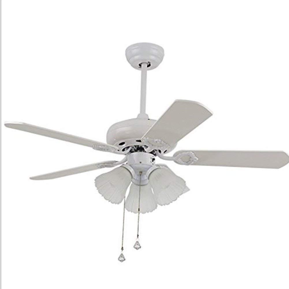 42-Inch Turbo Swirl Three-Lamp Ceiling Fan, Crystal Fan Chandelier Pendant Indoor Fan Chandelier Traction Rope Control (White)