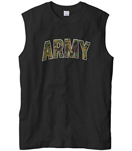 Cybertela Men's Classic Camouflage Army Sleeveless T-Shirt (Black, -