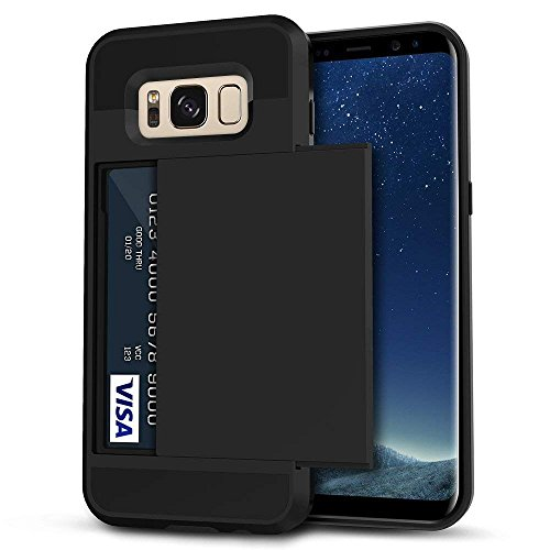 Galaxy S8 Case, Anuck Slide Cover Galaxy S8 Wallet Case [Card Pocket][Hard Shell] Shockproof Armor Rubber Bumper Protective Case Cover With Slidable Card Slot Holder for Samsung Galaxy S8 - Black