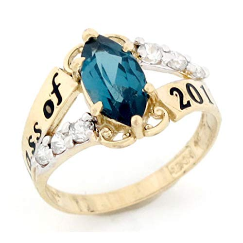 Class 10k Ring (10k Gold Simulated Blue Zircon December Birthstone 2019 Class Graduation Ring)