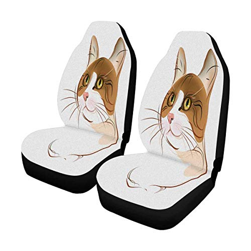 (INTERESTPRINT Hand Drawn Portrait of Ginger Tabby Cat Front Car Seat Covers Set of 2, Vehicle Seat Protector Car Mat Covers, Fit Most Vehicle, Cars, Sedan, Truck, SUV, Van)
