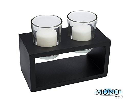 MONOINSIDE Decorative Tabletop Votive Candle Holder Glass with Stand, Black Wood Finish