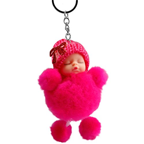 Price comparison product image OVERMAL Toy Cute Sleeping Baby Bowtie Fluffy Pompom Fur Plush Doll Keychain Keyring Key Ring