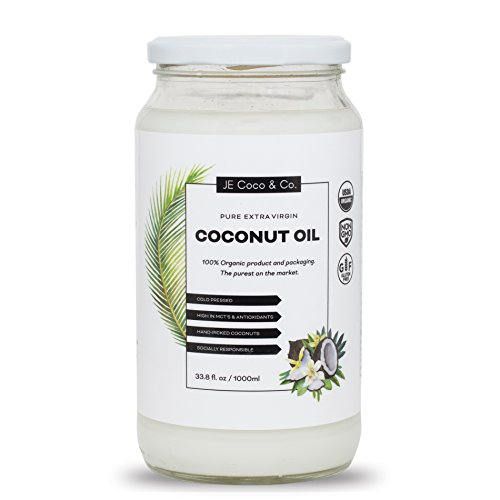 Organic Coconut Oil - Unrefined Cold Pressed Coconut Oil for Hair, Skin, and Cooking (1000ml)